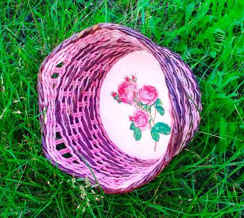 Комбинация веревочки и ситцевого плетения