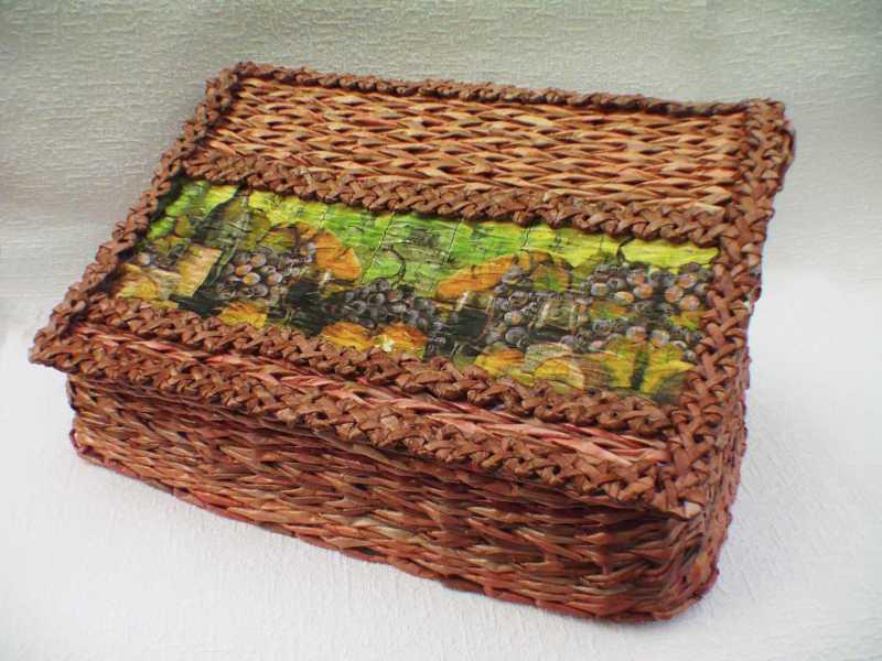 Хлебница из бумажных трубочек своими руками